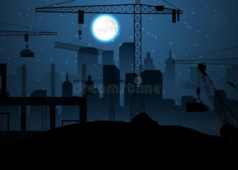 Bouwwerf met kranen op nachthemel en maan vector illustratie