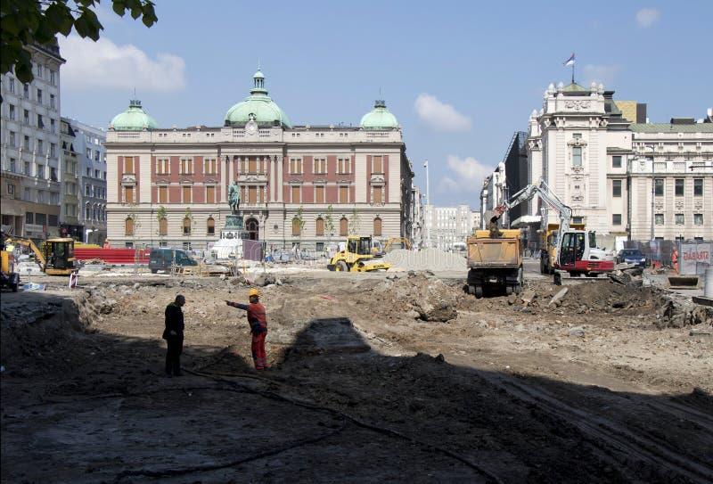 Bouwwerf op het vierkant van de Republiek in Belgrado, Servië royalty-vrije stock afbeelding