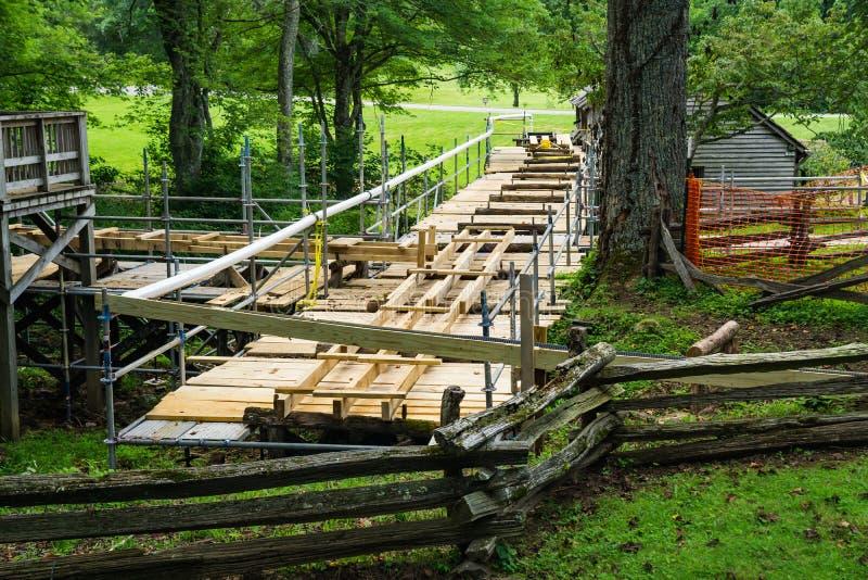 Bouwwerf van een Nieuwe Goot bij Mabry-Molen, Blauw Ridge Parkway, Virginia, de V.S. royalty-vrije stock afbeeldingen