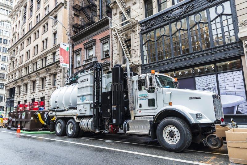 Bouwwerkzaamheden op Fifth Avenue in de Stad van New York, de V.S. stock fotografie
