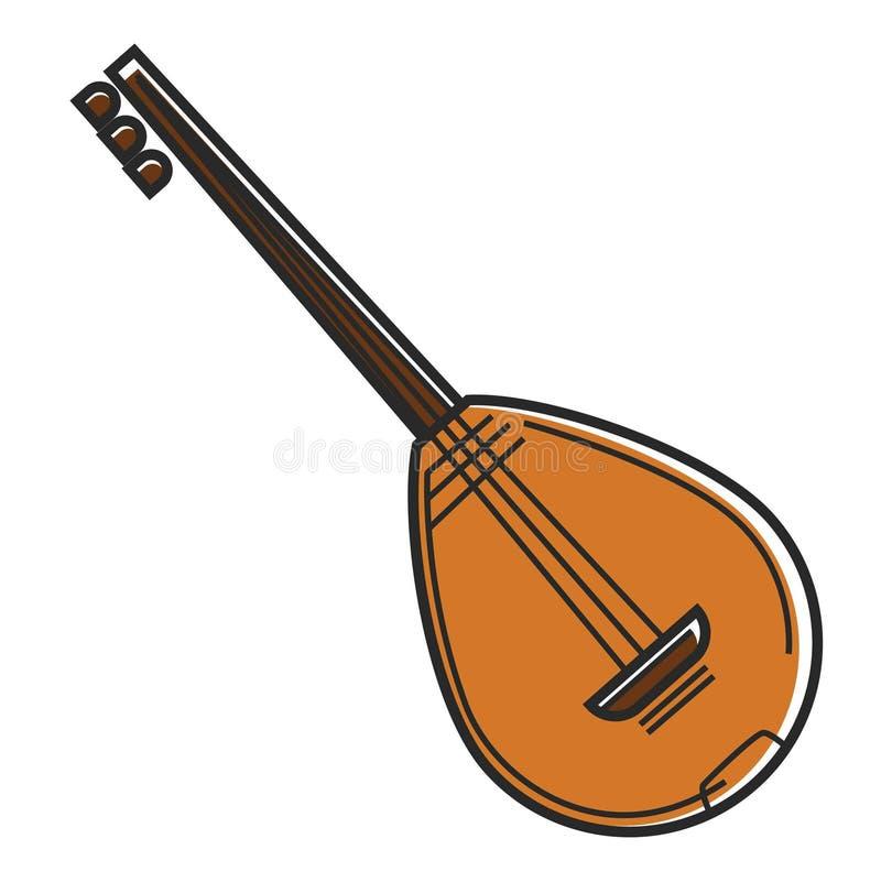 Bouzouki Cypr instrumentu muzycznego obywatela sznurka gitary podróży symbolu wektoru krajowa ikona ilustracji