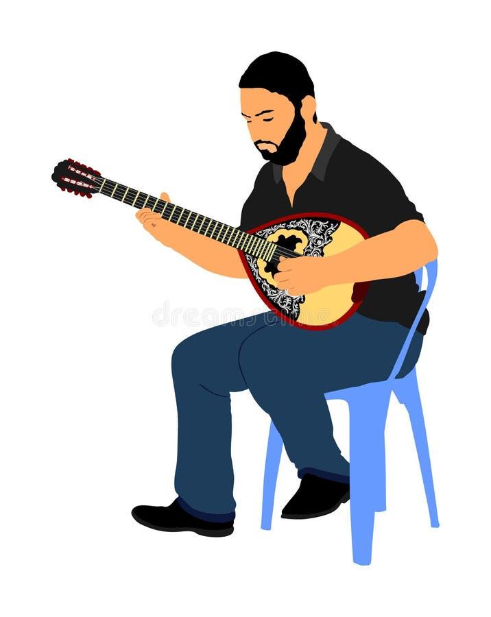 Bouzouki player vector illustration. Street performer. Greek traditional string instrument. Folklore performer on the street. Greece folk event. Baglama, zurna royalty free illustration