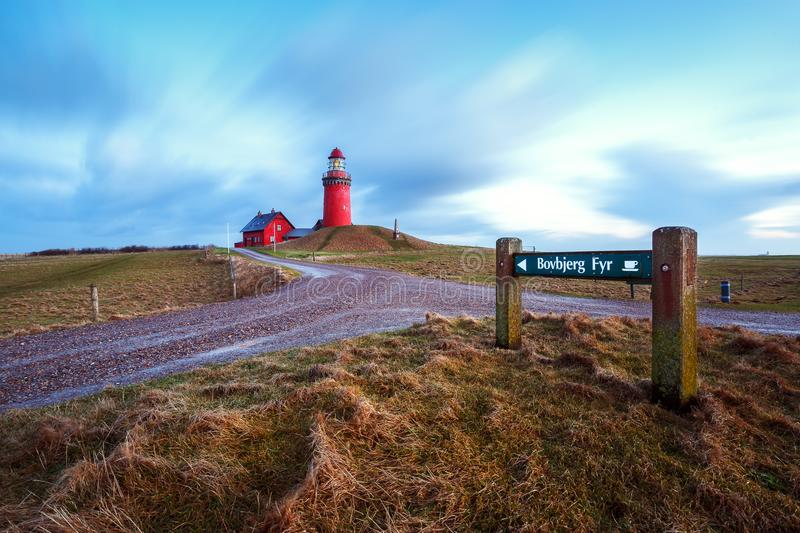The Bovbjerg Fyr at the danish northern sea coast in Vestjylland royalty free stock photo