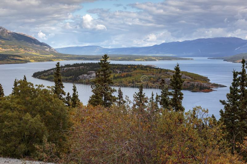 Bove island on the windy arm of the Tagish lake near the Klondike Highway in Yukon. Bove island on the windy arm of the Tagish lake near the Klondike Highway in royalty free stock photos