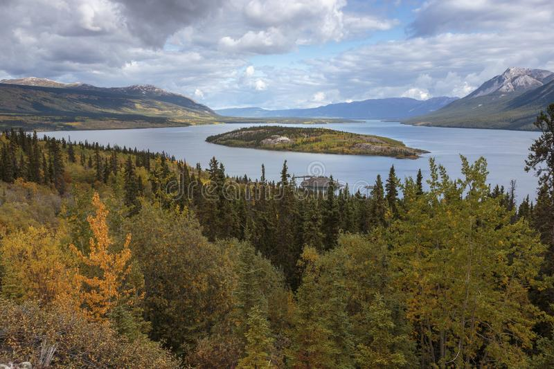 Bove island on the windy arm of the Tagish lake near the Klondike Highway in Yukon. Bove island on the windy arm of the Tagish lake near the Klondike Highway in stock photo