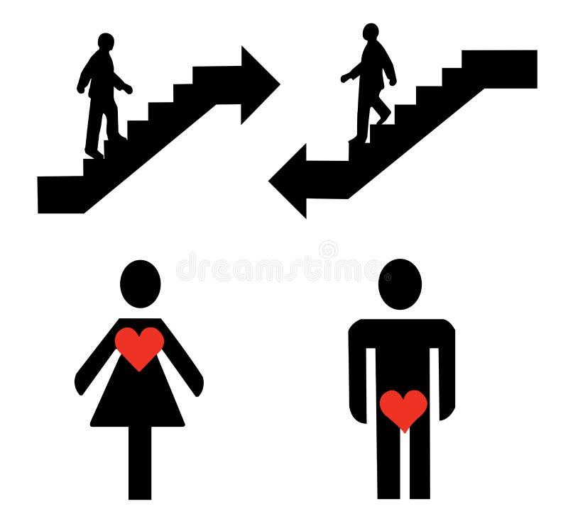 Boven en beneden, man en vrouwentekens vector illustratie