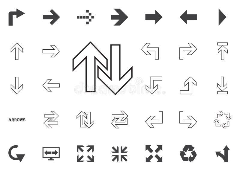 Boven en beneden pijlenpictogram Geplaatste de pictogrammen van de pijlillustratie vector illustratie