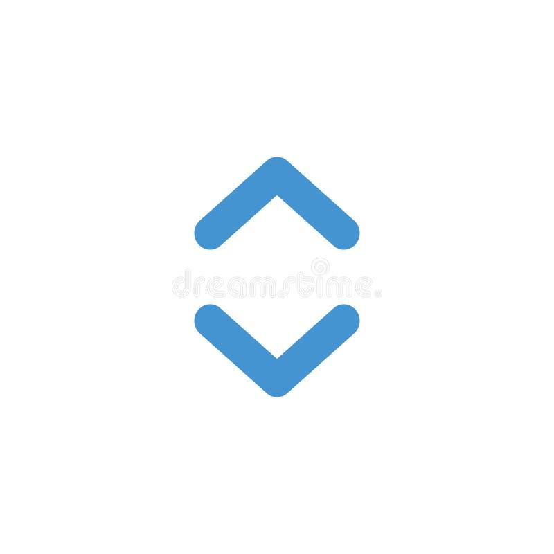 Boven en beneden Web vlakke eenvoudige pijlen voor Web-ontwerp Daarna en de knoop van de de cirkelpijl van de previosactie Vector royalty-vrije illustratie