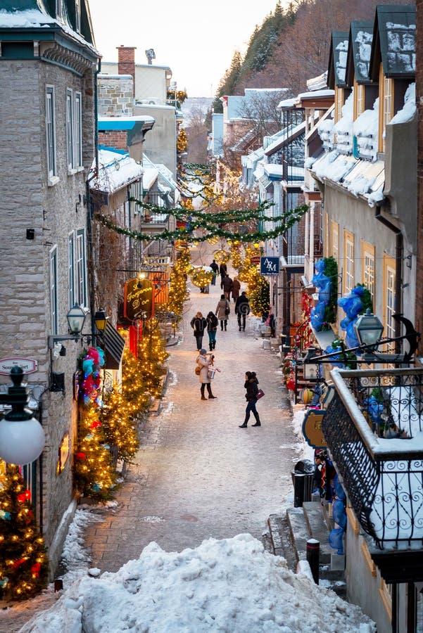 Boven mening van Petit Champlain in de Stad van Quebec, Canada royalty-vrije stock foto