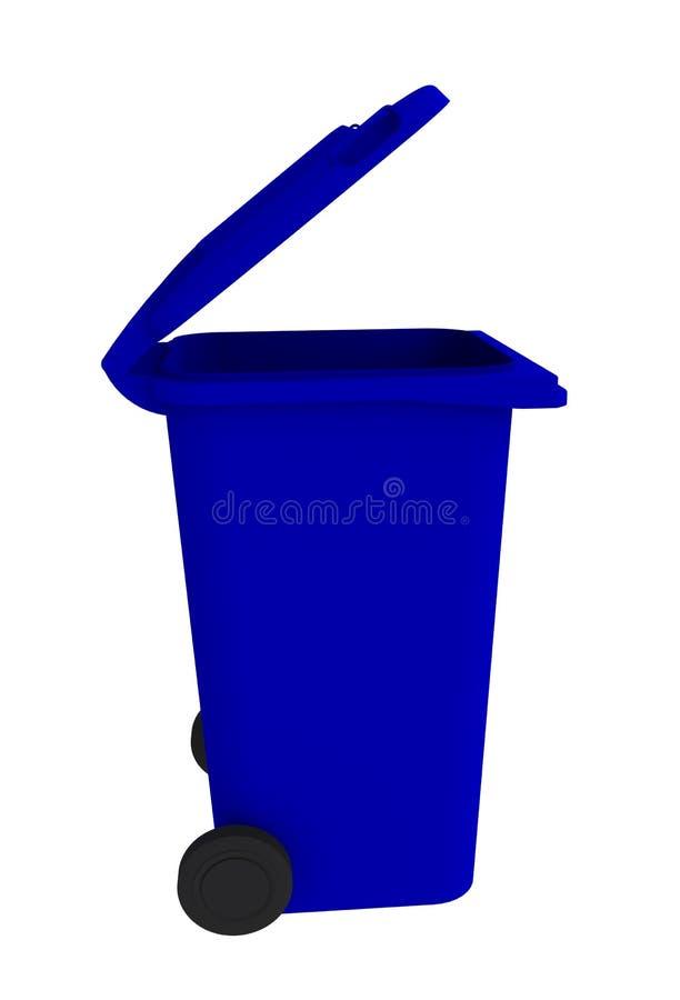 Bovenaanzicht van blauwe vuilnisbak met open deksel op een witte achtergrond stock illustratie