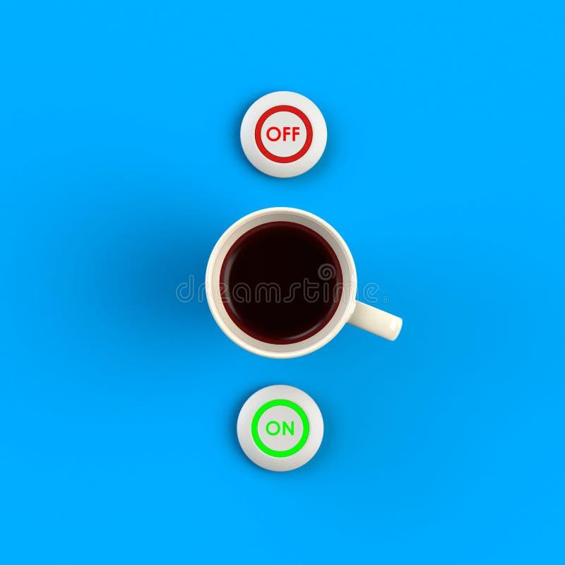 Bovenaanzicht van een kop koffie in de vorm van een knop op een afgezonderd op blauwe achtergrond, Coffee-conceptillustratie stock illustratie