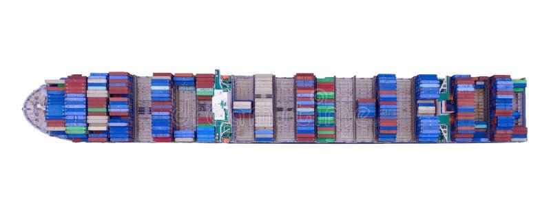 Bovenaanzicht vanuit de lucht van containervrachtschepen in de export-, import-, logistiek- en transportsector met internationale royalty-vrije stock afbeeldingen