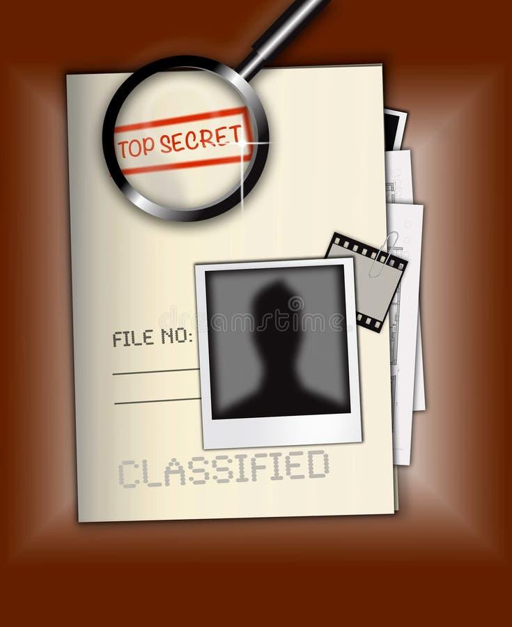 Bovenkant - de geheime Foto van het Dossier royalty-vrije illustratie