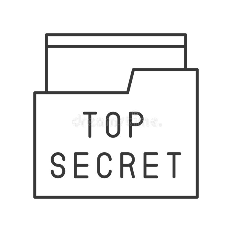 Bovenkant - geheime dossier en omslag, politie verwante pictogram editable slag royalty-vrije illustratie