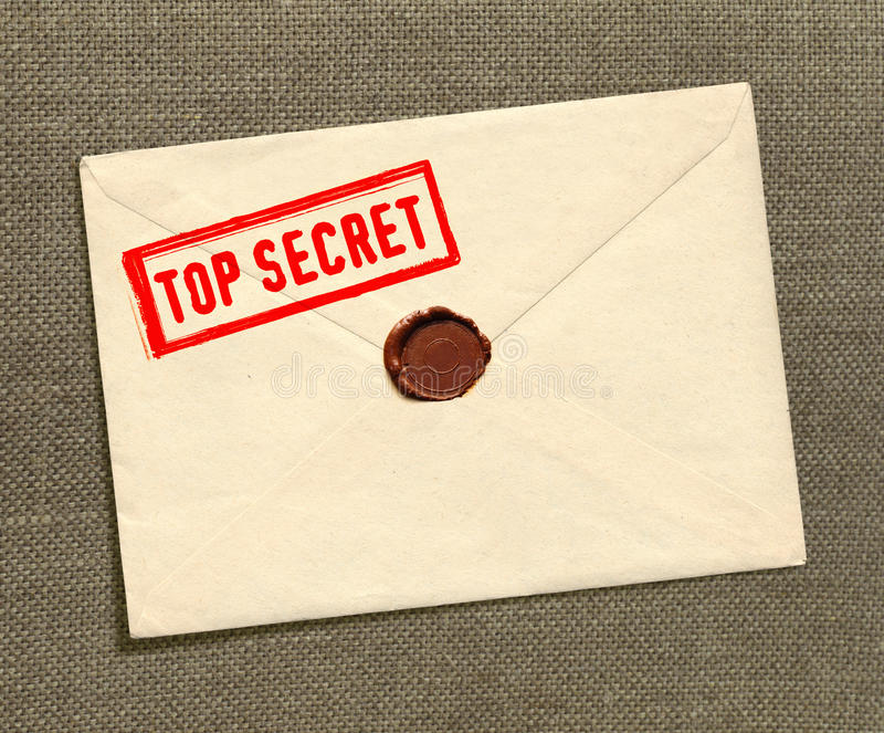Bovenkant - geheime envelop stock foto