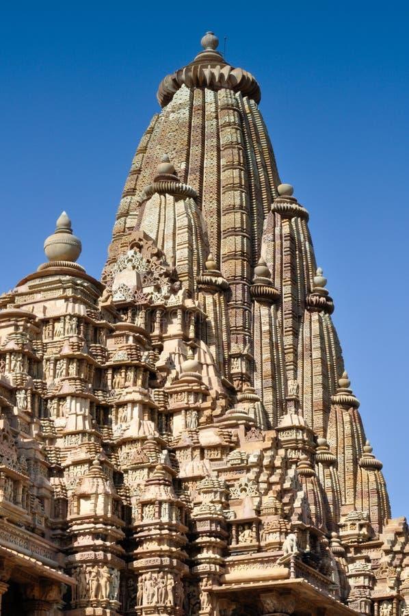 Bovenkant van de Tempel van Kandariya Mahadeva, Khajuraho, India, Unesco-plaats stock afbeelding