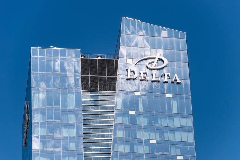 Bovenkant van de toren van het Deltahotel 2019 van Toronto royalty-vrije stock fotografie