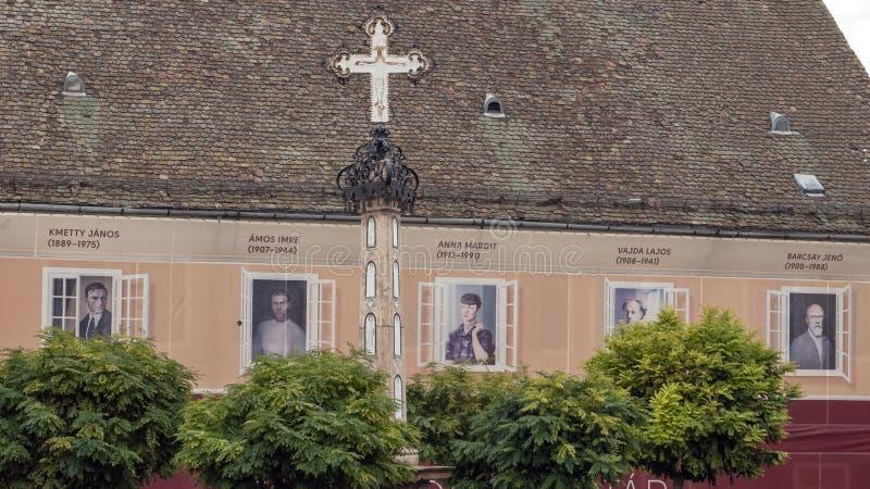 Bovenkant van de Zwarte Dood Dwars, hoofd vierkante Szentendre, Hongarije stock fotografie