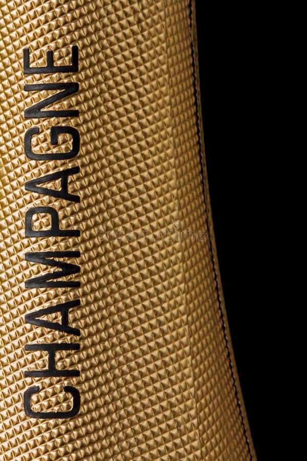 Bovenkant van een champagnefles stock afbeeldingen
