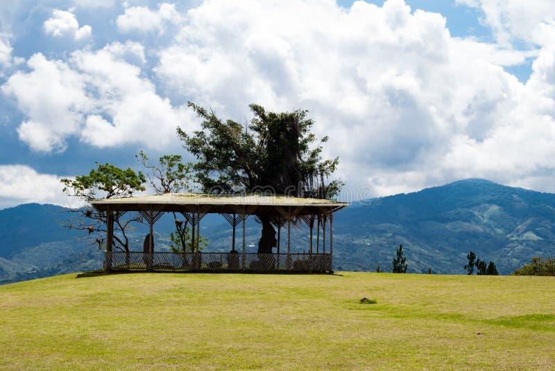 Bovenkant van het park van San Agustin Archeological, Huilla, Colombia de erfenis van de Unescowereld stock foto's