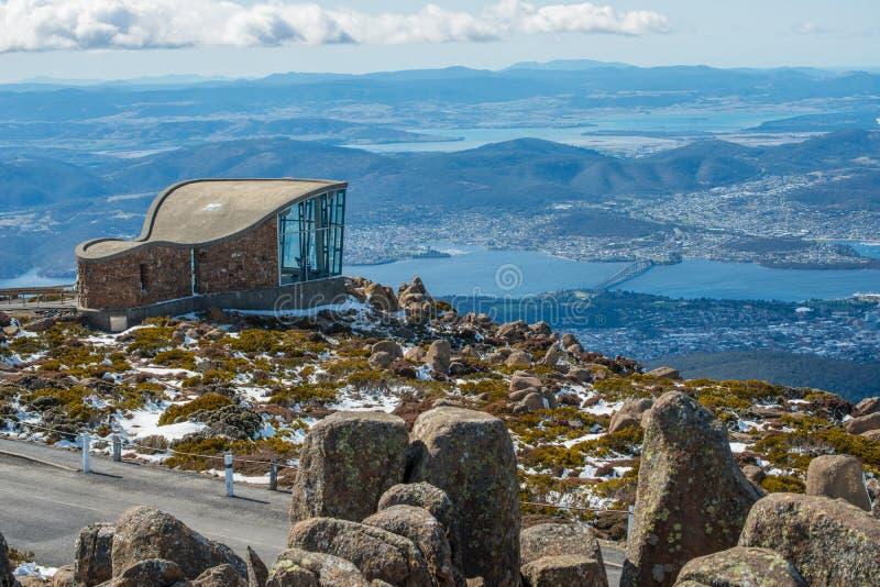 Bovenkant van Mt Wellington in Hobart, de staat van Tasmanige van Australië stock foto's