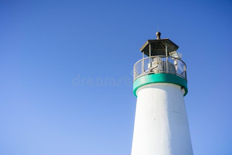 Bovenkant van Santa Cruz Breakwater Lighthouse, Walton Lighthouse, Santa Cruz, Californië stock foto's