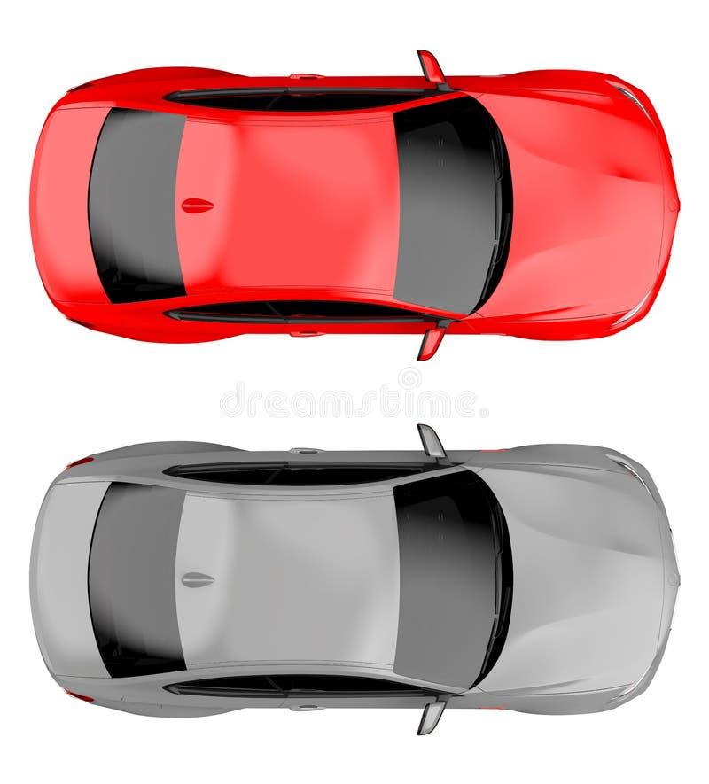 Bovenkant van twee moderne generische brandless auto's vector illustratie