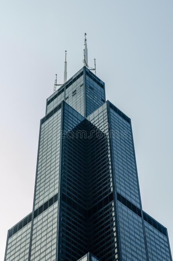 Bovenkant van Willis Tower, Chicago royalty-vrije stock foto