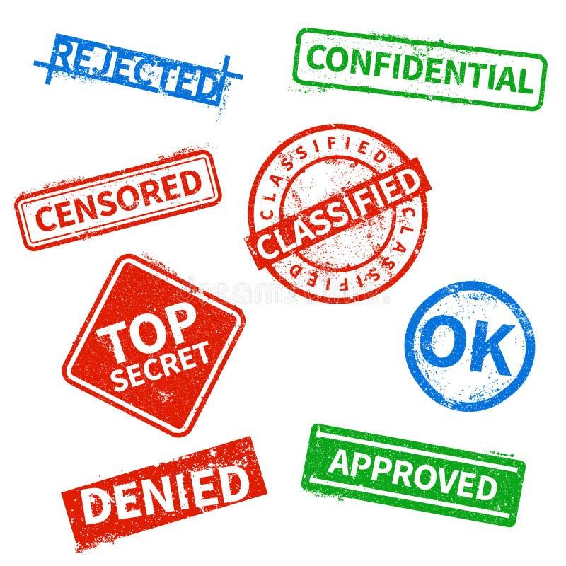 Bovenkant - verworpen geheim, goedgekeurd, geclassificeerd zaken rubberzegels, bureaucachet met verontruste geïsoleerde textuur royalty-vrije illustratie