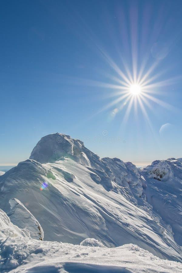Bovenop een sneeuwbergpiek stock afbeelding
