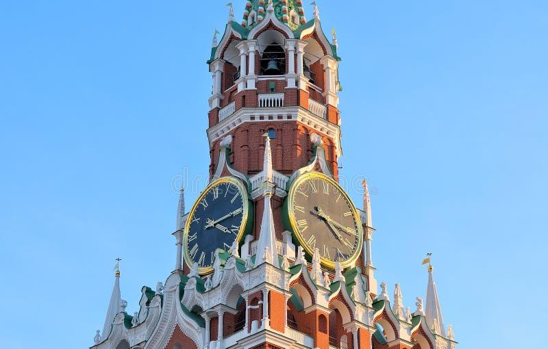 Bovenste gedeelte van de Spasskaya-Toren stock foto