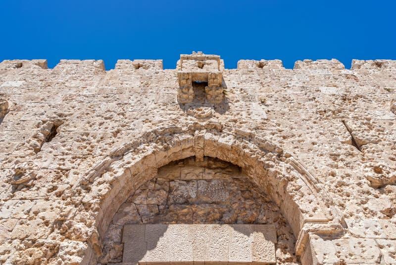 Bovenste gedeelte van Zion Gate, Jeruzalem stock afbeeldingen