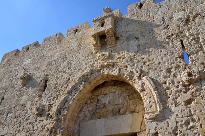 Bovenste gedeelte van Zion Gate in Jeruzalem stock foto