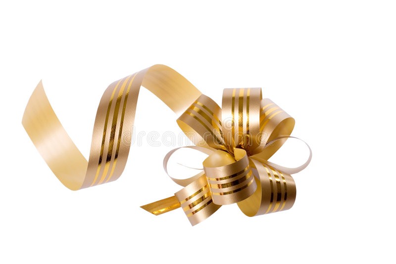 Bow. Golden bow for gifts and special occasions like Christmas or birthday, white isolated, clipping path included