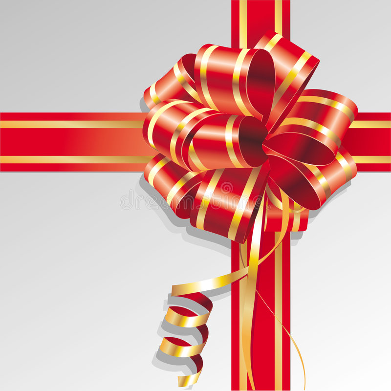 Bow. Red ribbon and bow. Vector illustration