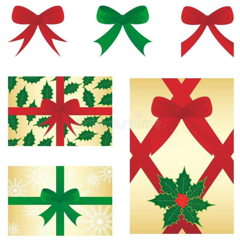 Bow&gift de la Navidad imagenes de archivo