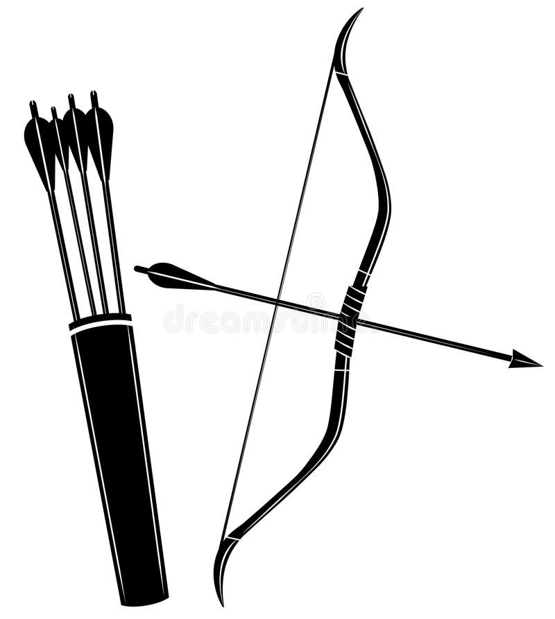 Free Bow, Arrow And Quiver Vector Illustration Icon Royalty Free Stock Image - 123403586