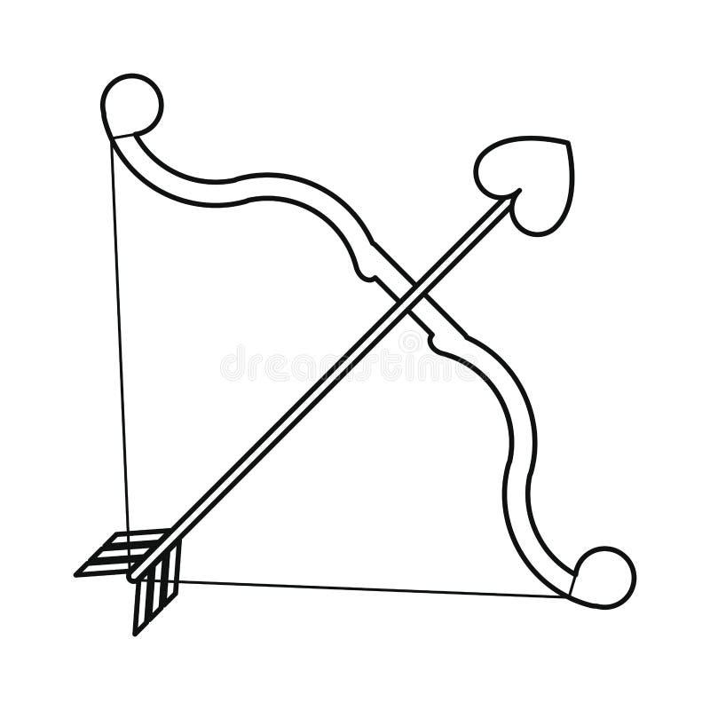 Bow and arrow heart love line vector illustration