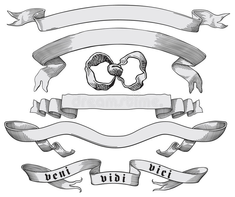 Bow and banners. Vector illustration of bow and banners