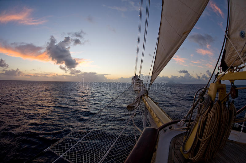 Bow of a barkentine sailing ship royalty free stock images