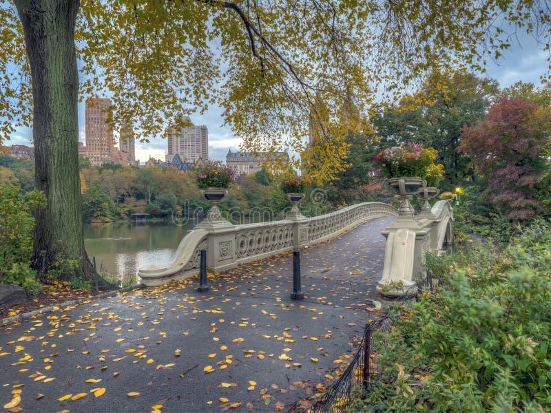 Bow bridge panoramic in autumn royalty free stock image