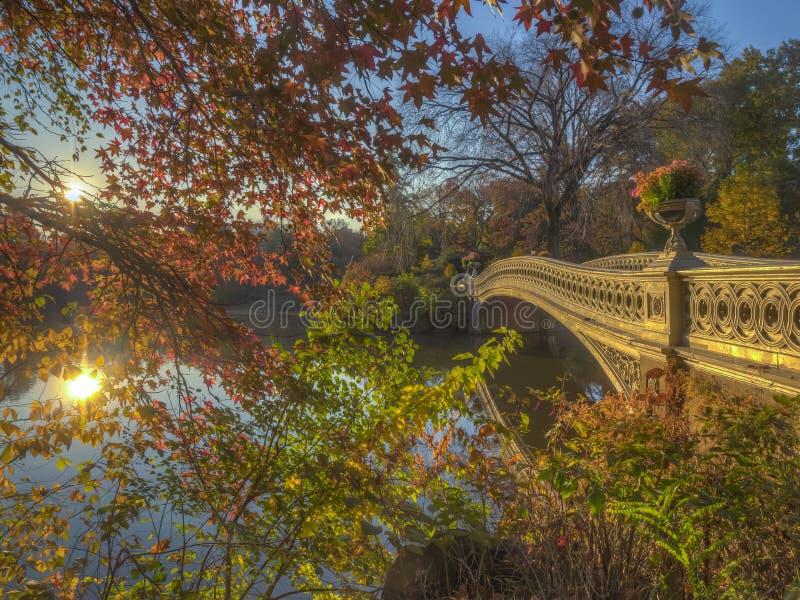 Bow bridge in autumn royalty free stock photos