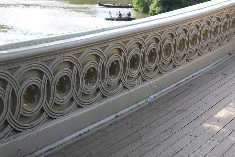 Bow Bridge, the most romantic bridge barandal design in New York. Summer royalty free stock photos