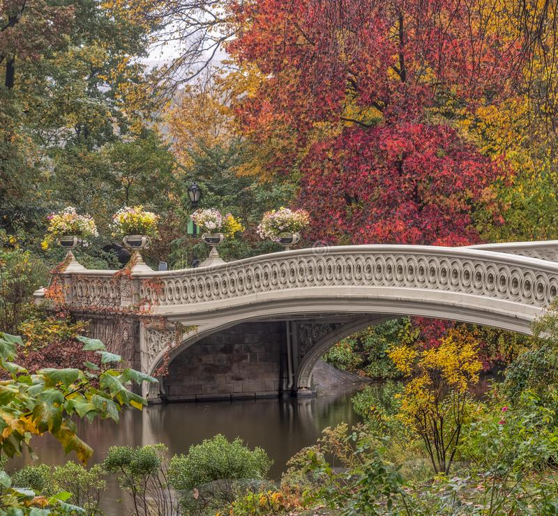 Bow Bridge in New York City, Central Park Manhattan. In autmn royalty free stock image