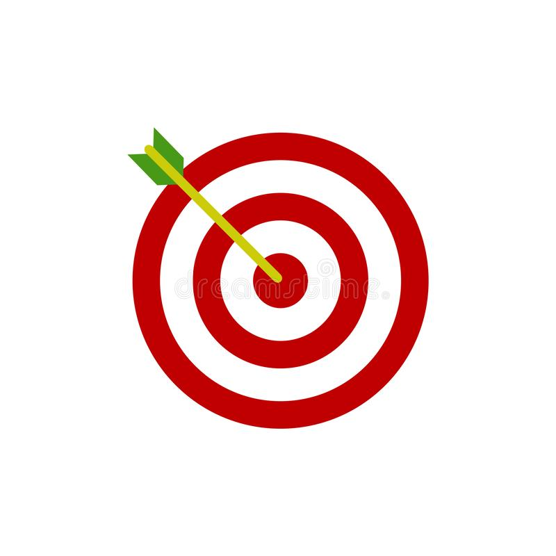 Bow, center focus target icon. Vector illustration, flat design. Bow, center  target icon. Vector illustration royalty free illustration