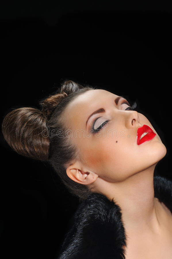 Download Bow coiffure stock photo. Image of face, attractive, black - 18890966