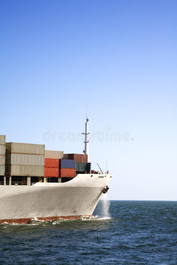 Bow Of Container Ship At Sea And Copy Space Royalty Free Stock Image