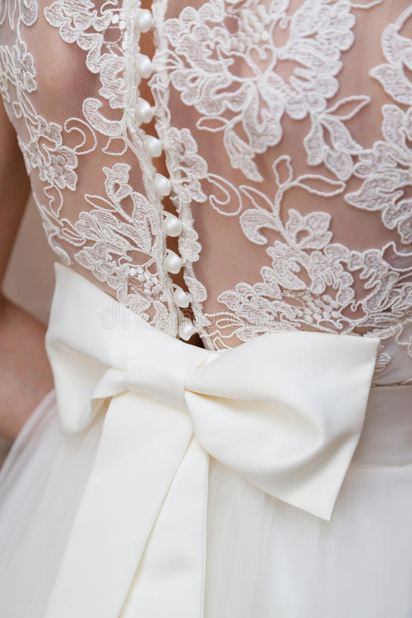Bow on corset of wedding gown royalty free stock images