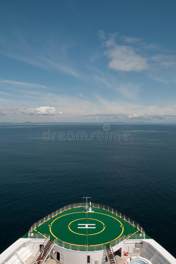 Bow of a cruise ship sailing in Alaska stock image
