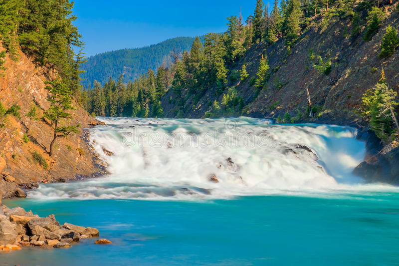 Bow Falls on Bow River Banff National Park stock images